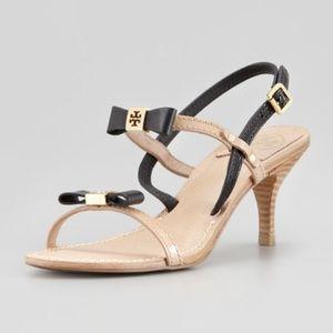 Tory Burch Kailey Two-Tone Bow Sandal Heels Sz 7